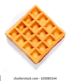 Square waffle with filling. Isolated background