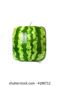 Square water-melon isolated on the white background