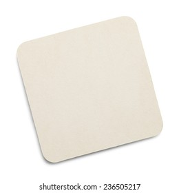 Square White Drink Coaster with Copy Space Isolated on White Background.
