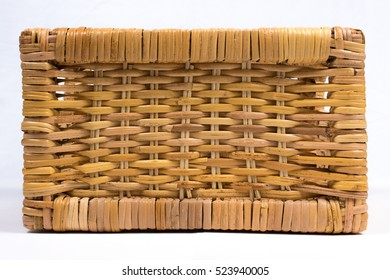 Square Wicker Basket Isolated on White Front View