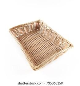 Square wood basket on white background