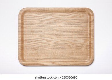 A square wood tray isolated white, top view at the studio.