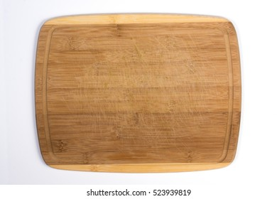Square Wooden Cutting Board Isolated on White Top View