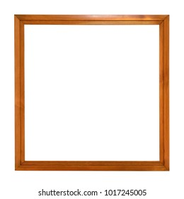 Square wooden picture frame isolated on white background with clipping path