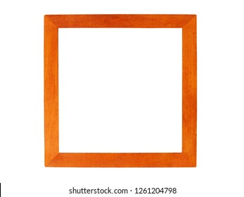 Square wooden picture frame isolated on white background