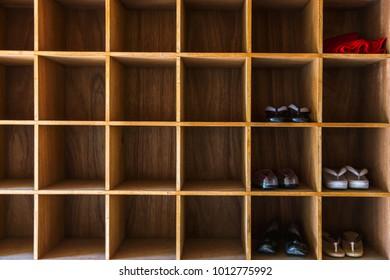 square wooden shoe rack