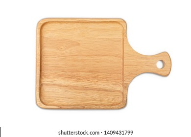 Square wooden tray with edge on white background