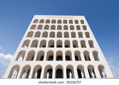 Squared colosseum view, EUR zone Rome, Italy. wide-angle perspective.