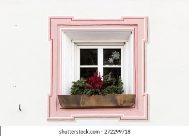 Squared glass window with pink frame and simple border with plant and flower pot