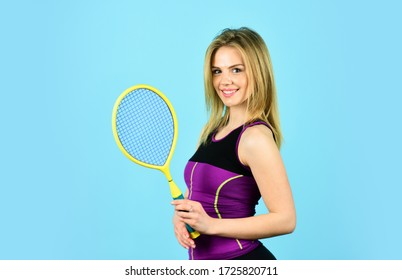 Squash game. Racquet sports. Tennis club. Smiling athletic girl hold tennis racket. In Pursuit of Good Health. Girl tennis player. Sport competition. Woman athlete play tennis court. Scoring system.