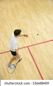 Squash player in action on squash court, back view/Young men playing match of squash.