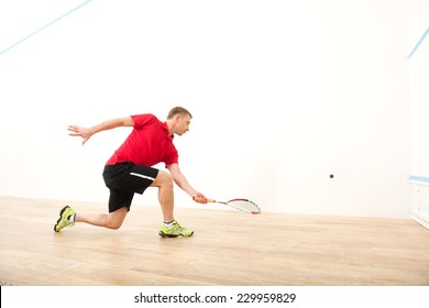 squash player hiting ball in squash court. man playing match of squash alone