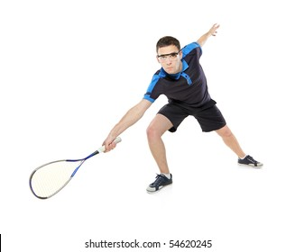 A squash player isolated on white background
