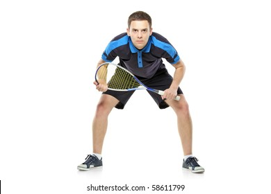 Squash player preparing for service isolated on white background