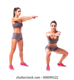 Squat Thrust with Twist exercise. Young woman doing sport exercise.