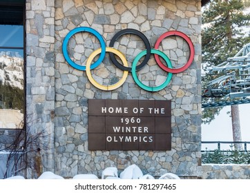 Squaw Valley, California, December 20, 2017: The Squaw Valley Ski Resort, in the Sierra Nevada Mountain Range, was the site of the 1960 Winter Olympics.