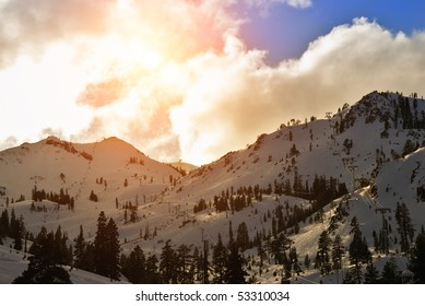 Squaw Valley ski resort in late afternoon.