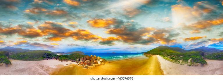 Squeaky Beach, Wilsons Promontory. Aerial panoramic sunset view.