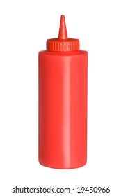 Squeeze bottle of ketchup isolated on white for use in any promotional plan.