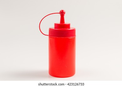 squeeze plastic ketchup bottle isolate on white background