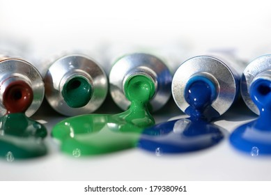 squeezed tube of colors