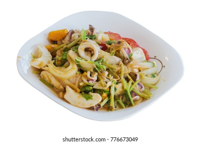 squid fried with salted egg and vegetable on white dish