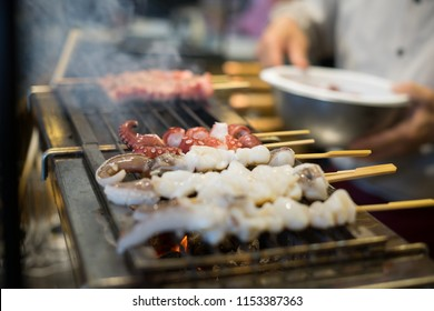 Squid and wagyu beef grills with japanese yakitori style