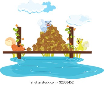 squirrel with nuts (vector available in portfolio)