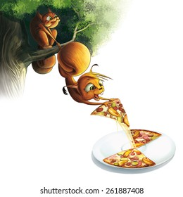 Squirrel on the green tree, pizza, cartoon character