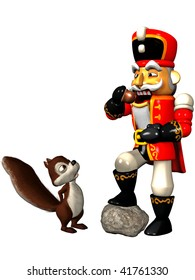 A squirrel watching a Nutcracker who eats a nut