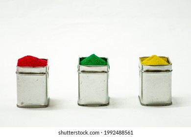 Squre Tin Box in Red Green And Yellow Color Filled Isolated In White Background