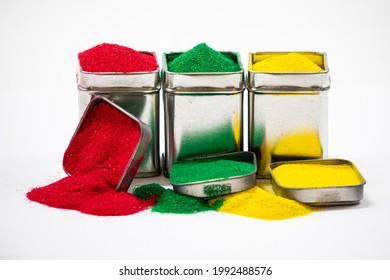 Squre Tin Cover Close-Up in Red Green And Yellow Cross Line Isolated In White Background