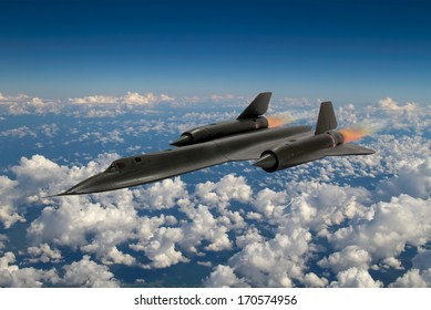 SR-71 'Blackbird' supersonic spy plane from 20th century. It was an advanced, long-range, Mach 3+ strategic reconnaissance aircraft from the USA. (Artists Impression/recreation photo)