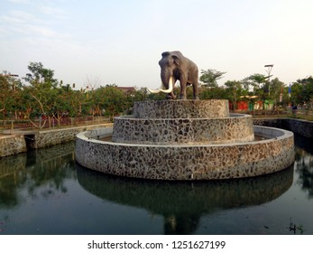 SRAGEN, INDONESIA - December 7, 2018: Elephant Statue In Gemolong Edu Park