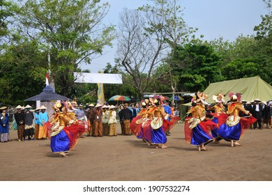 Sragen, Indonesia - October 26, 2017: Performance of elephant dance in Sangiran cultural camp.