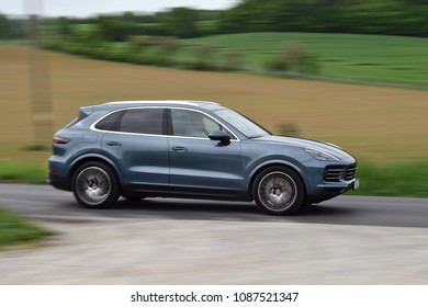 SRBSKO, CZECH REPUBLIC - MAY 4, 2018: Porsche Cayenne S near Srbsko, Czech republic, May 4, 2018.