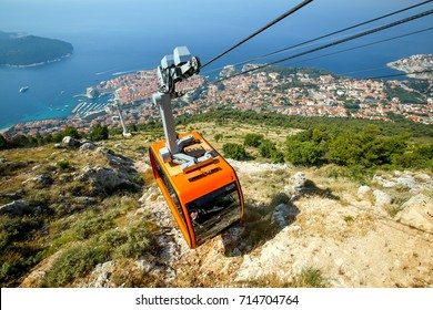Srd hill, a mountain behind the ancient old town Dubrovnik with cable car in Dalmatia, Croatia.