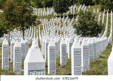SREBRENICA, BOSNIA AND HERZEGOVINA - JULY 12, 2017: The Srebrenica-Potocari memorial and cemetery for the victims of the 1995 massacre over muslims in Bosnia Herzegovina.