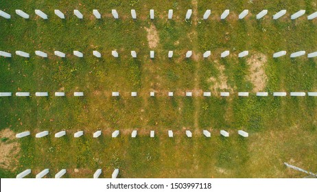 SREBRENICA, Potocari, Bosnia and Herzegovina - September 4th: Flying above the graves of murdered men and young boys civilians wictims from Serbian aggression and genocide in Potocari, on September 4,