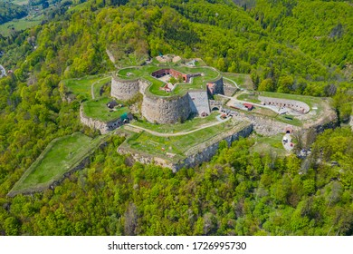Srebrna Gora fortress with beautiful panorama of Sudety mountains aerial view. Poland. - Shutterstock ID 1726995730