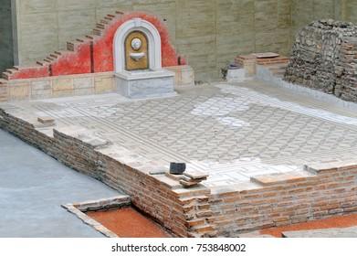 SREMSKA MITROVICA, SERBIA - MAY 9: Remains of old roman city Sirmium, on May 9 2017 in Sremska Mitrovica, Serbia