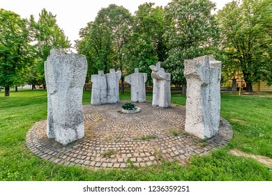 Sremski Karlovci, Serbia - May 2, 2018: A monument to the fallen soldiers in World War II in Sremski Karlovci, Serbia. Park on the square of Patriarch Brankovic