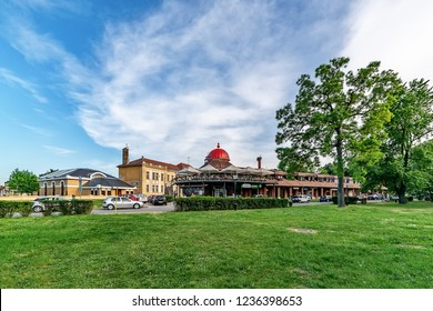Sremski Karlovci, Serbia - May 2, 2018: Center of the city Sremski Karlovci and shopping mall