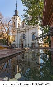 SREMSKI KARLOVCI, VOJVODINA, SERBIA - NOVEMBER 11, 2018: Orthodox St. Nicholas Cathedral church in town of Srijemski Karlovci, Vojvodina, Serbia
