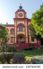 SREMSKI KARLOVCI, VOJVODINA, SERBIA - NOVEMBER 11, 2018: Karlovacka High school in center of town of Srijemski Karlovci, Vojvodina, Serbia