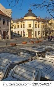 SREMSKI KARLOVCI, VOJVODINA, SERBIA - NOVEMBER 11, 2018: Panoramic view of center of town of Srijemski Karlovci, Vojvodina, Serbia