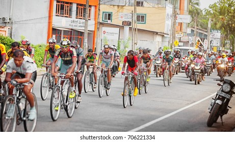 SRI LANKA - 25 APR 2013: Pack of Cyclists in a Bicycle Race in Sri Lanka