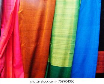 sri lanka colorful handloom Saree. Close up of Colorful traditional Sari. Colorful Saree (Sari) backgroun. Mannequins in sri lankan sari shop. Mannequins dressed in saris.
