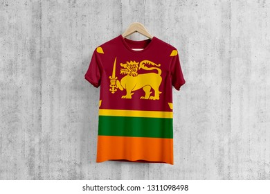 Sri Lanka flag T-shirt on hanger, Sri Lankan team uniform design idea for garment production. National wear.