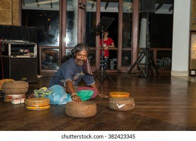 Sri Lanka. Kalutara - August 18, 2015. Performance of the Snake Charmer. The performance starts...
